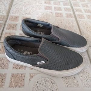 Vans Off The Wall Gray Shoes Womens Size 8 Slip On